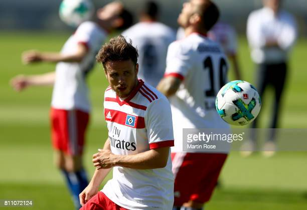 Nicolai Mueller controls the ball during a training session of Hamburger SV at Volksparkstadion on July 9 2017 in Hamburg Germany