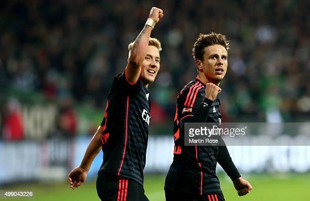 Nicolai Mueller of Hamburg celebrates after he scores the 3rd goal during the Bundesliga match between SV Werder Bremen and Hamburger SV at...