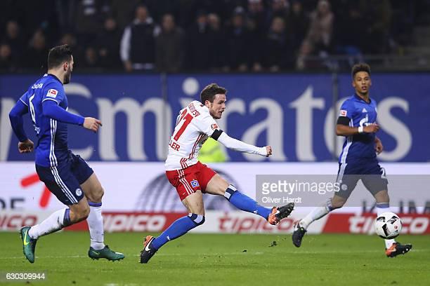 Nicolai Mueller of Hamburg scores their first goal during the Bundesliga match between Hamburger SV and FC Schalke 04 at Volksparkstadion on December...