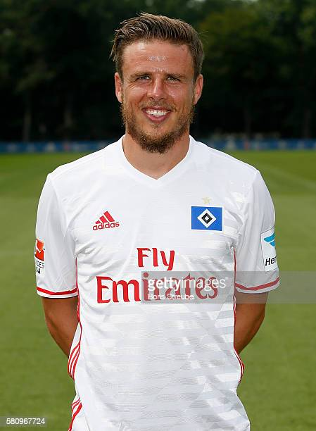 Nicolai Mueller of Hamburger SV poses during the Hamburger SV Team Presentation at Volksparkstadion on July 25 2016 in Hamburg Germany