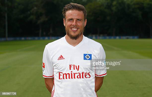 Nicolai Mueller of Hamburger SV poses during the Hamburger SV Team Presentation at Volksparkstadion on July 25 2016 in Hamburg Germany