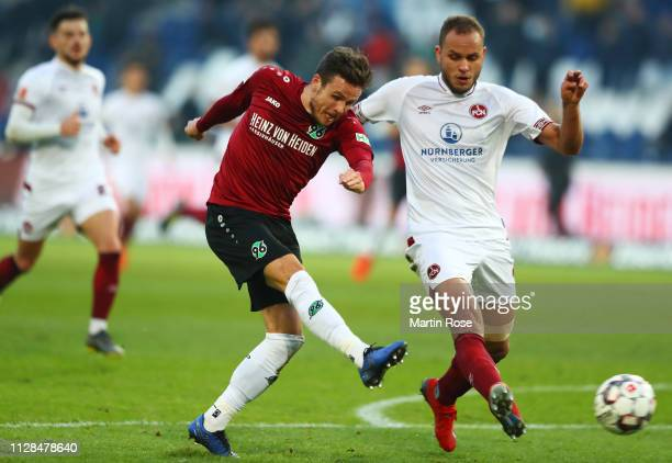 Nicolai Mueller of Hannover 96 scores his team's second goal during the Bundesliga match between Hannover 96 and 1 FC Nuernberg at HDIArena on...