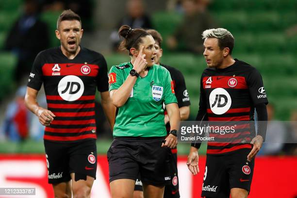 Nicolai Muller of the Wanderers argues with the referee after a penalty is called during the round 23 A-League match between Melbourne City and the...