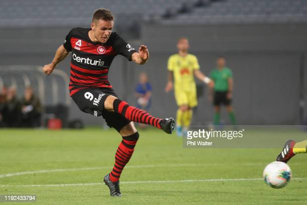 Nicolai Muller of the Western Sydney Wanderers scores a goal during the round nine A-League match between the Wellington Phoenix and the Western...