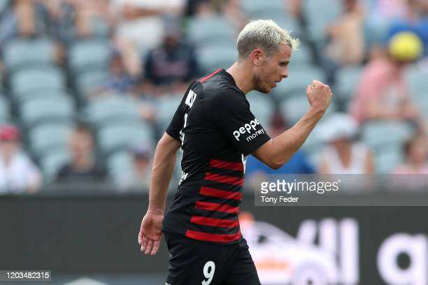 Nicolai Muller of Western Sydney Wanderers celebrates scoring a goal during the round 17 A-League match between the Central Mariners and the Western...