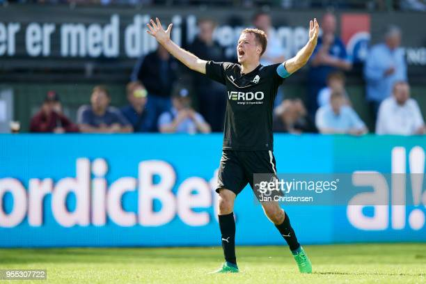 Nicolai Poulsen of Randers FC celebrate after the 11 goal from Bashkim Kadrii during the Danish Alka Superliga match between FC Helsingor and Randers...