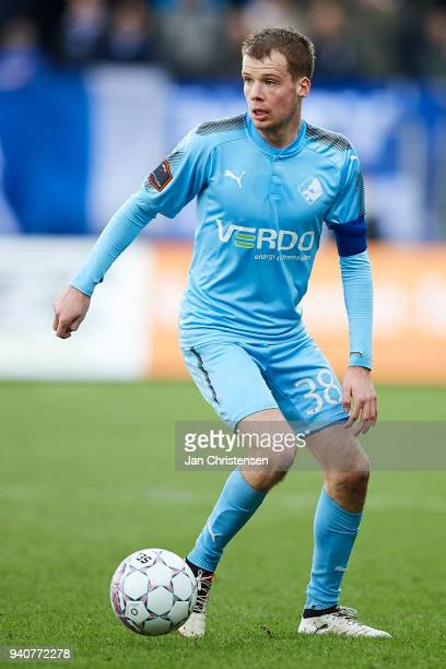 Nicolai Poulsen of Randers FC controls the ball during the Danish Alka Superliga match between Randers FC and Lyngby BK at BioNutria Park Randers on...