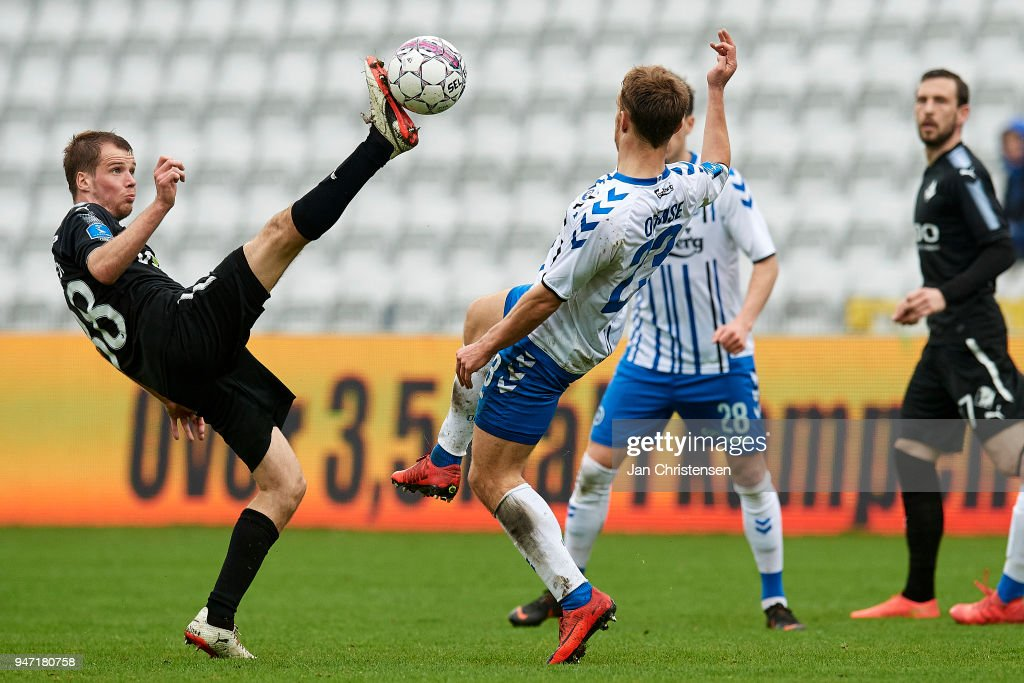 Nicolai Poulsen of Randers FC in action during the Danish Alka Superliga match between OB Odense and Randers FC at EWII Park on April 15, 2018 in Odense, Denmark.