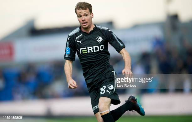 Nicolai Poulsen of Randers FC in action during the Danish Superliga match between Vendsyssel FF and Randers FC at Nord Energi Arena on April 26 2019...