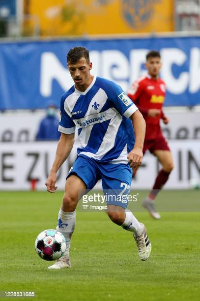 Nicolai Rapp of SV Darmstadt 98 during the Second Bandesliga match between SV Darmstadt 98 and SSV Jahn Regensburg at Jonathan-Heimes-Stadion am...