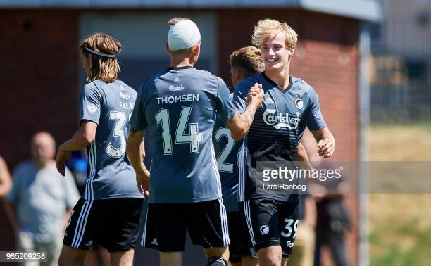 Nicolaj Thomsen and Andreas Kirkeby of FC Copenhagen celebrate after scoring their second goal during the friendly match between FC Copenhagen and...