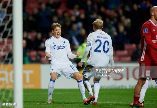 Nicolaj Thomsen and Nicolai Boilesen of FC Copenhagen celebrate after scoring their fifth goal during the Danish Alka Superliga match between FC...