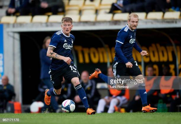 Nicolaj Thomsen and Nicolai Boilesen of FC Copenhagen in action during the Danish Alka Superliga match between AC Horsens and FC Copenhagen at CASA...