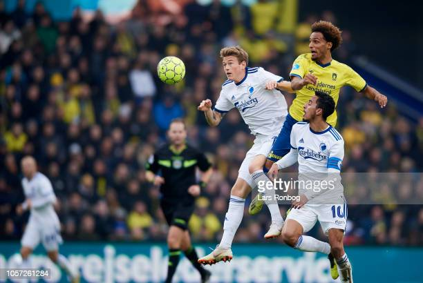 Nicolaj Thomsen of FC Copenhagen and Hany Mukhtar of Brondby IF compete for the ball during the Danish Superliga match between Brondby IF and FC...