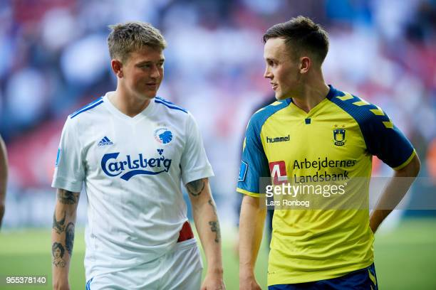 Nicolaj Thomsen of FC Copenhagen speaks to Lasse Vigen Christensen of Brondby IF after the Danish Alka Superliga match between FC Copenhagen and...