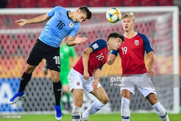 Nicolas Acevedo of Uruguay U20, Eman Markovic of Norway U20, Erling Haland of Norway U20 during the FIFA U-20 World Cup Poland 2019 group C match...
