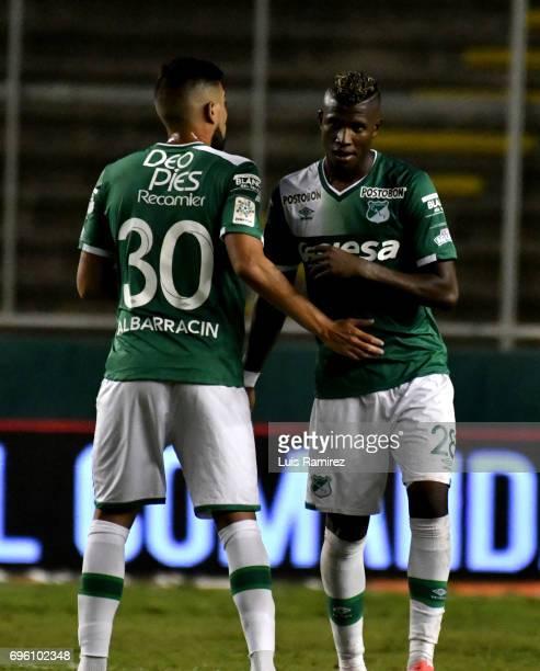 Nicolas Albarracín and Luis Orejuela of Deporivo Cali, celebrate after winning the Final first leg match between Deportivo Cali and Atletico Nacional...