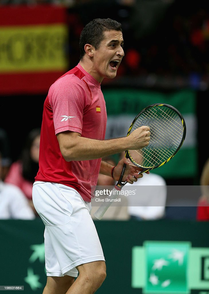 Nicolas Almagro of Spain celebrates a point against Tomas Berdych of Czech Republic during day one of the final Davis Cup match between Czech Republic and Spain at the 02 Arena on November 16, 2012 in Prague, Czech Republic.