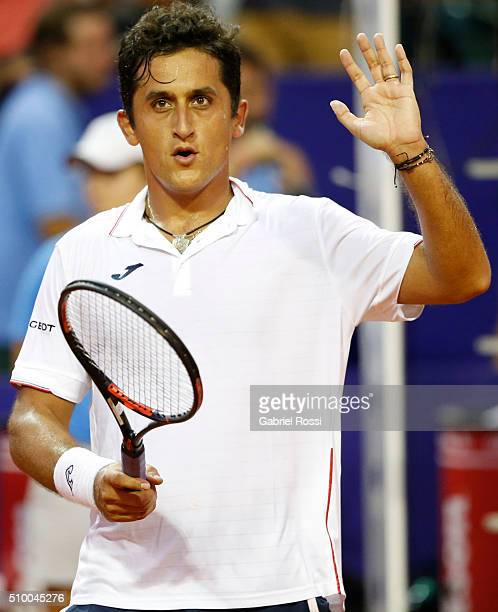 Nicolas Almagro of Spain celebrates after winning the match between Nicolas Almagro of Spain and David Ferrer of Spain as part of ATP Argentina Open...