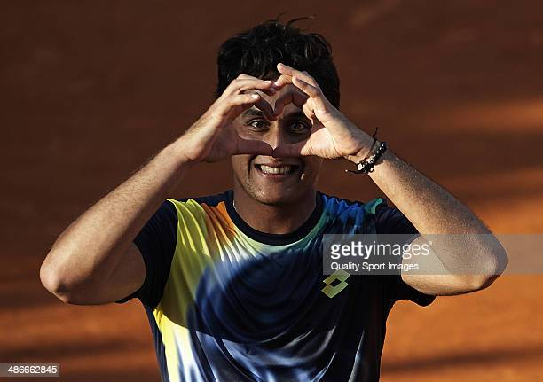 Nicolas Almagro of Spain celebrates defeating Rafael Nadal of Spain during day five of the ATP Barcelona Open Banc Sabadell at the Real Club de Tenis...