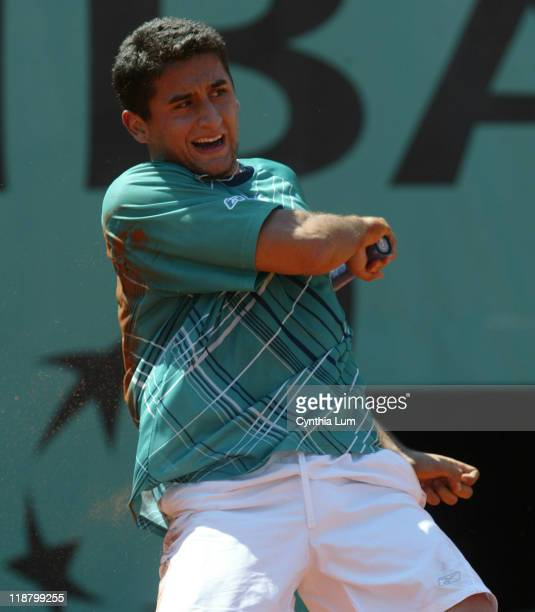 Nicolas Almagro of Spain during his 67 62 64 64 defeat by James Blake of the USA in the second round of the 2006 French Open in Paris France on June...