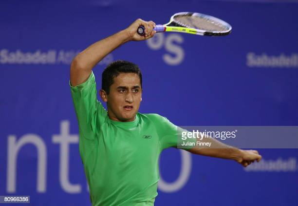 Nicolas Almagro of Spain in action against Denis Gremelmayr of Germany during the Open Sabadell Atlantico Barcelona 2008 Tennis at the Real Club on...