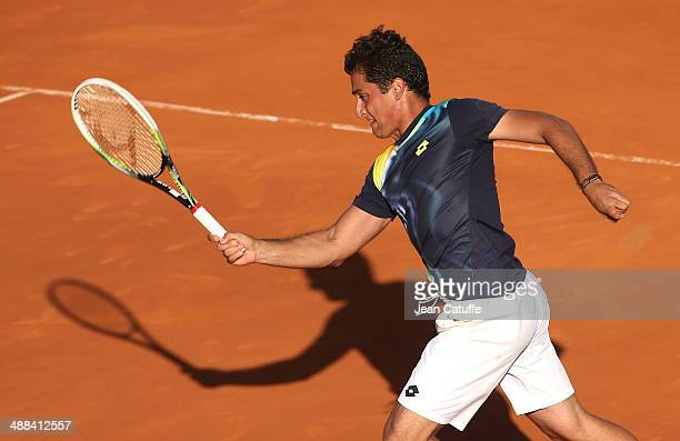 Nicolas Almagro of Spain in action against Rafael Nadal of Spain during the ATP Tour Open Banc Sabadell Barcelona 2014 62nd Trofeo Conde de Godo at...