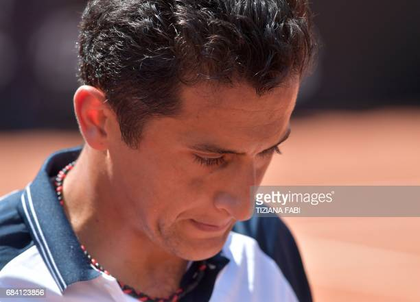 Nicolas Almagro of Spain looks on during his match against Rafael Nadal of Spain at the ATP Tennis Open tournament on May 17 2017 at the Foro Italico...