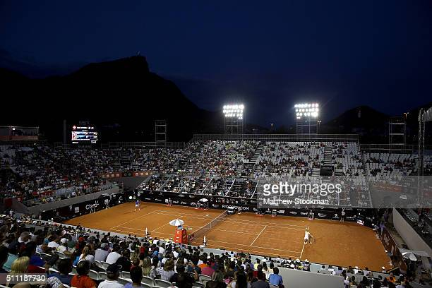 Nicolas Almagro of Spain plays Rafael Nadal of Spain during the Rio Open at Jockey Club Brasileiro on February 18 2016 in Rio de Janeiro Brazil