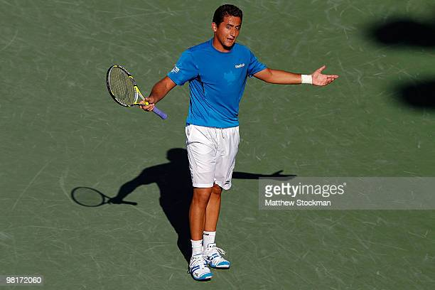 Nicolas Almagro of Spain reacts after a point against Andy Roddick of the United States during day nine of the 2010 Sony Ericsson Open at Crandon...