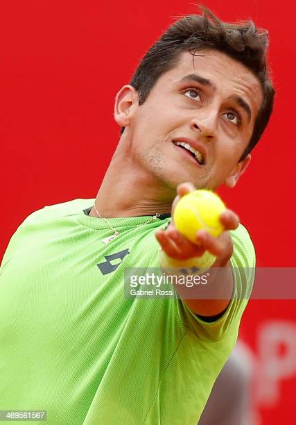 Nicolas Almagro of Spain serves during a tennis match between David Ferrer and Nicolas Almagro as part of ATP Buenos Aires Copa Claro on February 15...