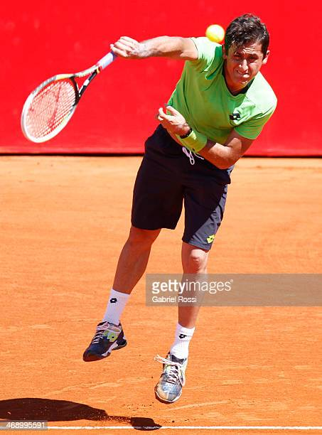 Nicolas Almagro of Spain serves during a tennis match between Nicolas Almagro and Horacio Zeballos as part of ATP Buenos Aires Copa Claro on February...