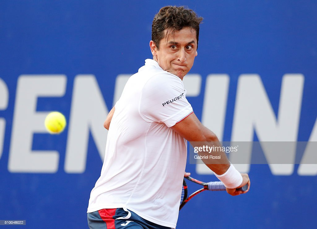 Nicolas Almagro of Spain takes a backhand shot during a match between Nicolas Almagro of Spain and David Ferrer of Spain as part of ATP Argentina Open at Buenos Aires Lawn Tennis Club on February 13, 2016 in Buenos Aires, Argentina.