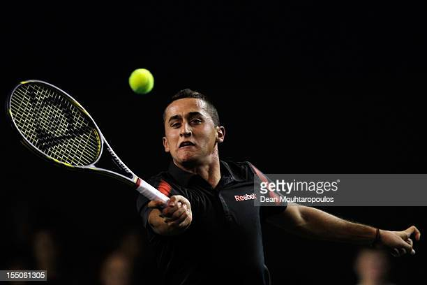 Nicolas Almargo of Spain in action against Albert Ramos of Spain during day 3 of the BNP Paribas Masters at Palais Omnisports de Bercy on October 31...
