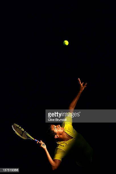 Nicolas Almargo of Spain serves in his fourth round match against Tomas Berdych of Germany during day seven of the 2012 Australian Open at Melbourne...