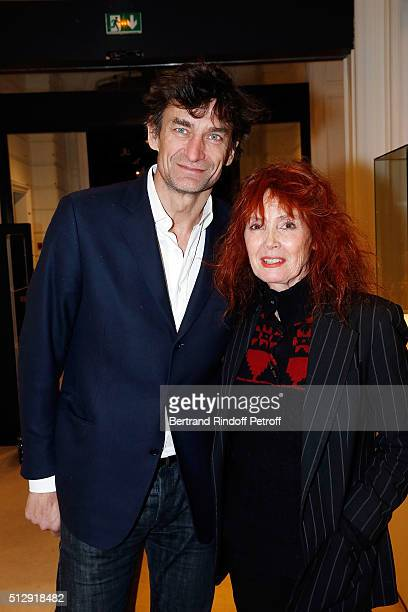 Nicolas Altmayer and Sabine Azema attends the Dominique Segall anniversary party at Cafe Artcurial on February 28 2016 in Paris France