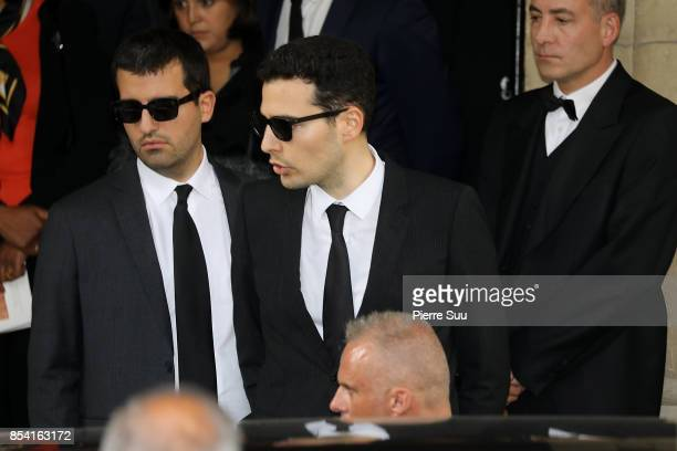 Nicolas and Jean Victor Meyers attend Liliane Bettencourt's funeral at Eglise Saint Pierre on September 26 2017 in NeuillysurSeine France