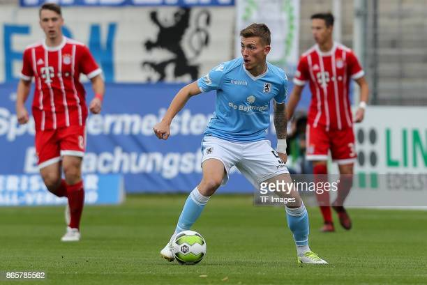 Nicolas Andermatt of 1860 Muenchen controls the ball during the match between TSV 1860 Muenchen and Bayern Muenchen II at Stadion an der Grünwalder...
