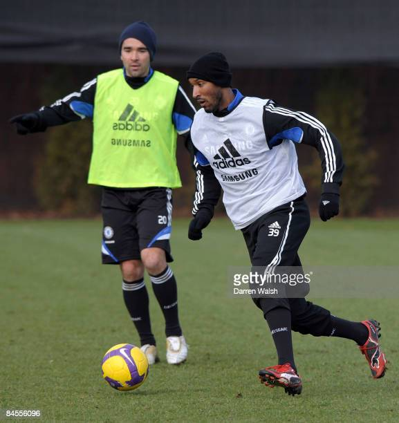 Nicolas Anelka and Deco of Chelsea in action during a training session at the Chelsea FC training ground on January 30, 2009 in Cobham, United Kingdom