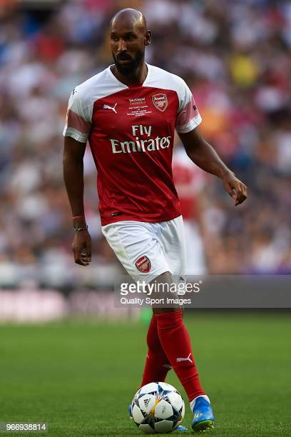 Nicolas Anelka of Arsenal Legends in action during the Corazon Classic match between Real Madrid Legends and Arsenal Legends at Estadio Santiago...
