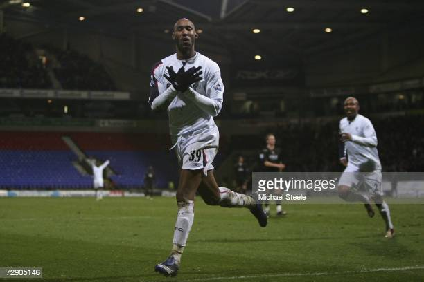 Nicolas Anelka of Bolton celebrates scoring the winning goal during the Barclays Premiership match between Bolton Wanderers and Portsmouth at the...