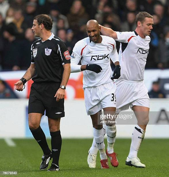 Nicolas Anelka of Bolton Wanderers celebrates scoring their first goal during the Barclays FA Premier League match between Bolton Wanderers and...