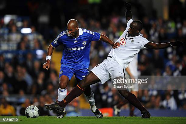 Nicolas Anelka of Chelsea battles with Souleymane Diawara of Bordeaux during the UEFA Champions League Group A match between Chelsea and Bordeaux at...