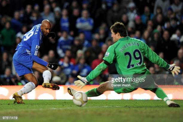 Nicolas Anelka of Chelsea beats goalkeeper Thomas Sorensen of Stoke but his shot goes wide of goal during the FA Cup sponsored by E.on quarter final...