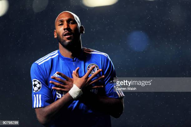 Nicolas Anelka of Chelsea celebrates after scoring the opening goal during the UEFA Champions League Group D match between Chelsea and FC Porto at...