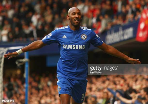 Nicolas Anelka of Chelsea celebrates as he scores their first goal during the Barclays Premier League match between Chelsea and Liverpool at Stamford...