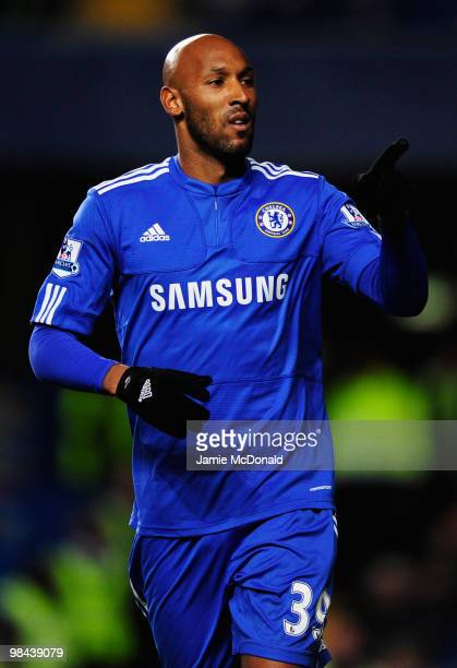 Nicolas Anelka of Chelsea celebrates as he scores their first goal during the Barclays Premier League match between Chelsea and Bolton Wanderers at...