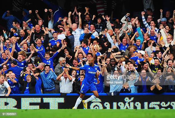 Nicolas Anelka of Chelsea celebrates in front of the home fans as he scores their first goal during the Barclays Premier League match between Chelsea...