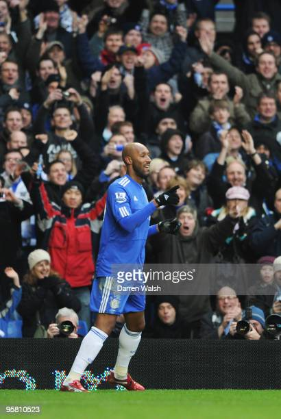 Nicolas Anelka of Chelsea celebrates scoring during the Barclays Premier League match between Chelsea and Sunderland at Stamford Bridge on January...