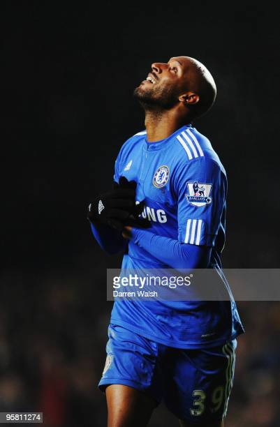 Nicolas Anelka of Chelsea celebrates scoring his sides sixth goal during the Barclays Premier League match between Chelsea and Sunderland at Stamford...